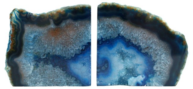 Blue  Crystal   Geode Bookends