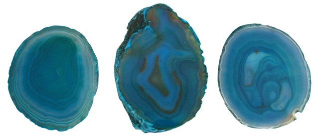 Peacock Blue Agate Cross Sections, S/3