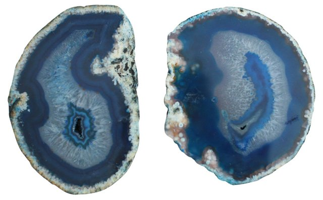 Blue Agate Cross Sections, Pair