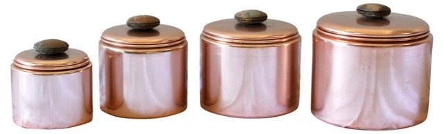 Rose-Colored Aluminum Canisters, S/4