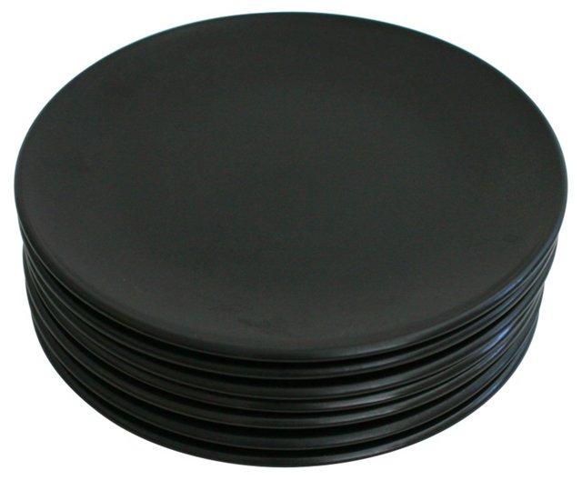 Mid Mod Matte Black Dinner Plates, S/7
