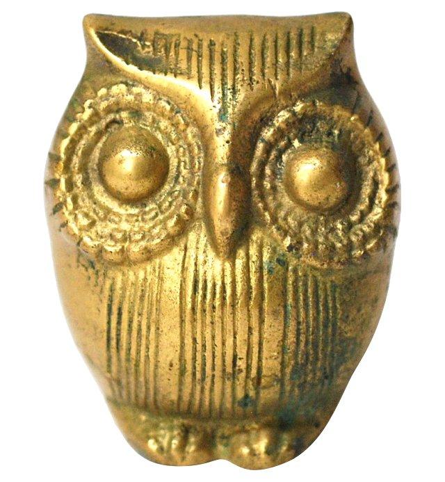 Petite Brass Owl Paperweight