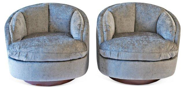 Swivel Chairs Attr. to Baughman, Pair