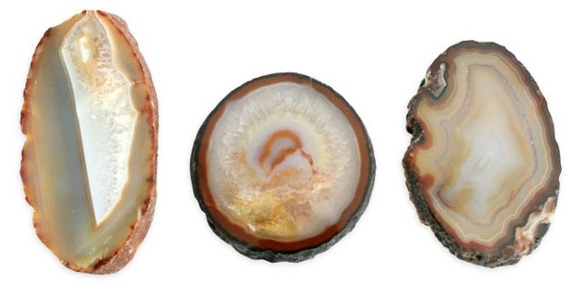 Agate Cross Sections, Set of 3