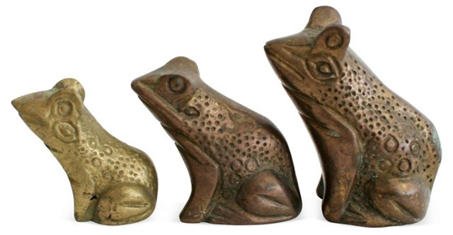 Brass Frogs, Set of 3