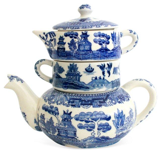 Blue Willow Tea Set, 4 Pcs