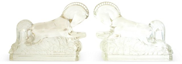 Glass Etruscan Horse Bookends