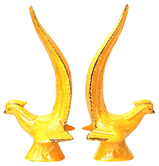 Yellow Midcentury Birds, Pair