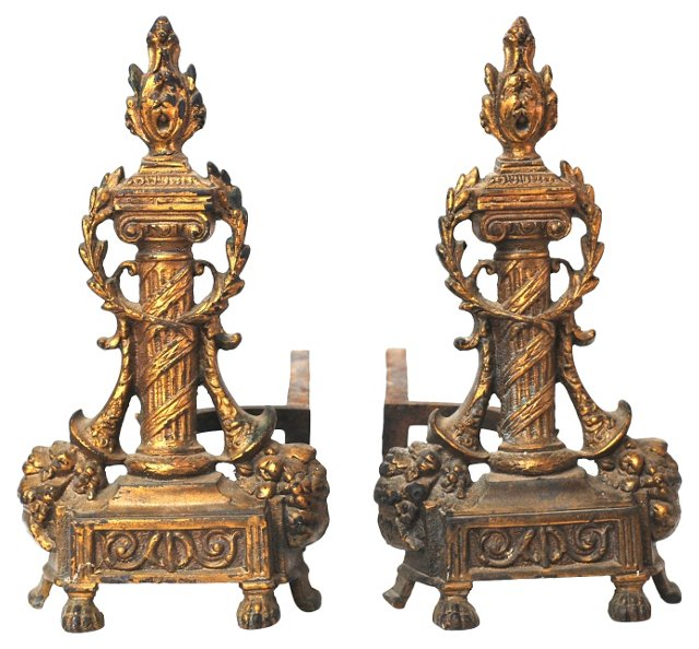 French Deco-Style Andirons