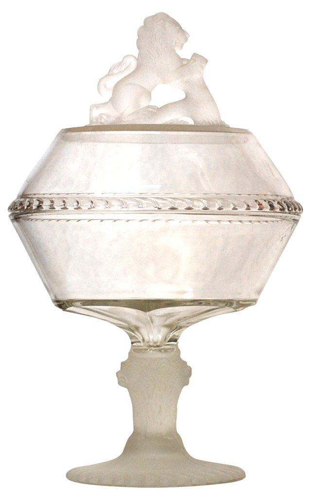 Lidded Lion Glass Dish