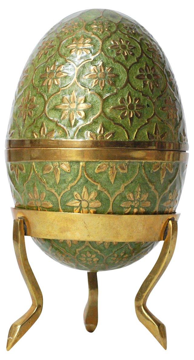 Brass & Enamel Egg with Pedestal, 2 Pcs.