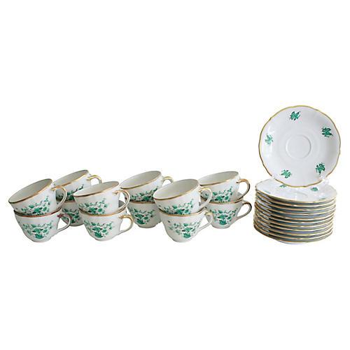 Bavarian Teacups & Saucers, S/12