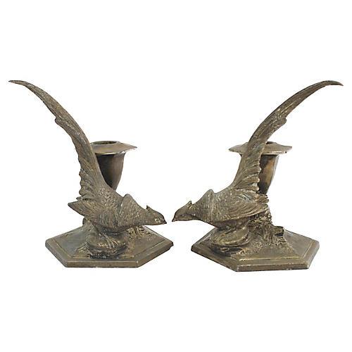 1930s Pheasant Candleholders, Pr