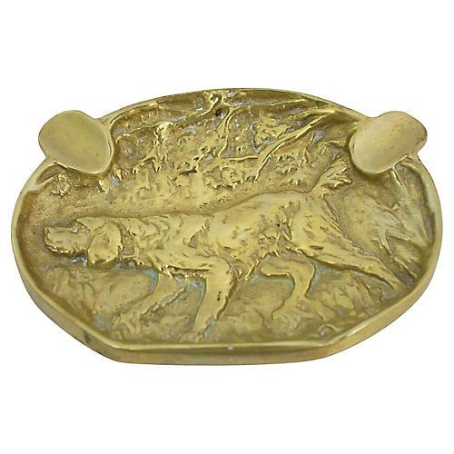 Antique Brass Hound Ashtray
