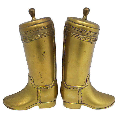 Mid-Century Riding Boot Bookends