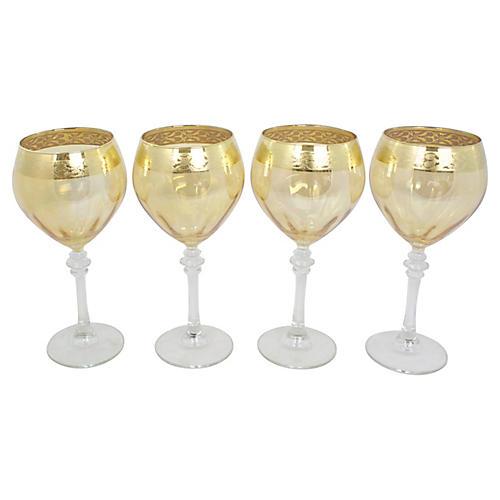 Gold-Rimmed Wine Glasses, S/4