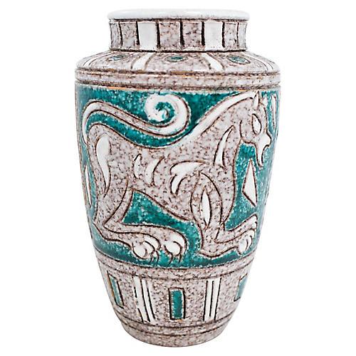 Italian Sgraffito Pottery Lion Vase