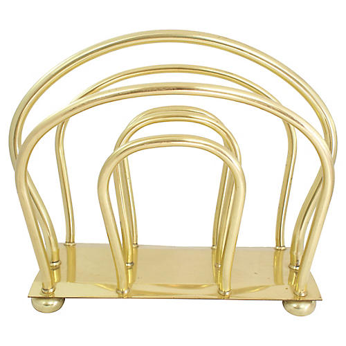 Midcentury English Brass Magazine Rack