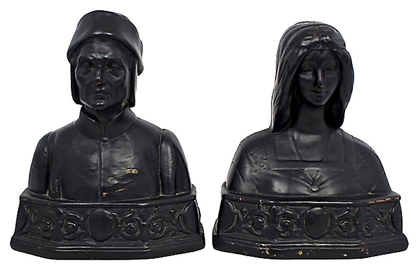 1920s Armor Bronze Bust Bookends