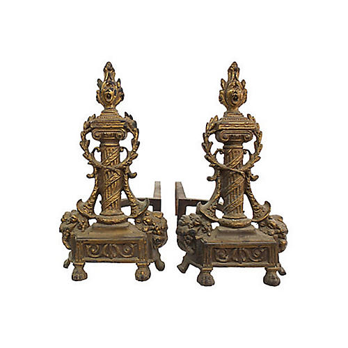Antique French Andirons, Pair