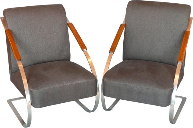 Czech Art Deco Armchairs, Pair