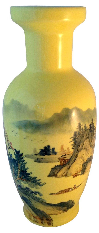 Tall Yellow Asian Vase