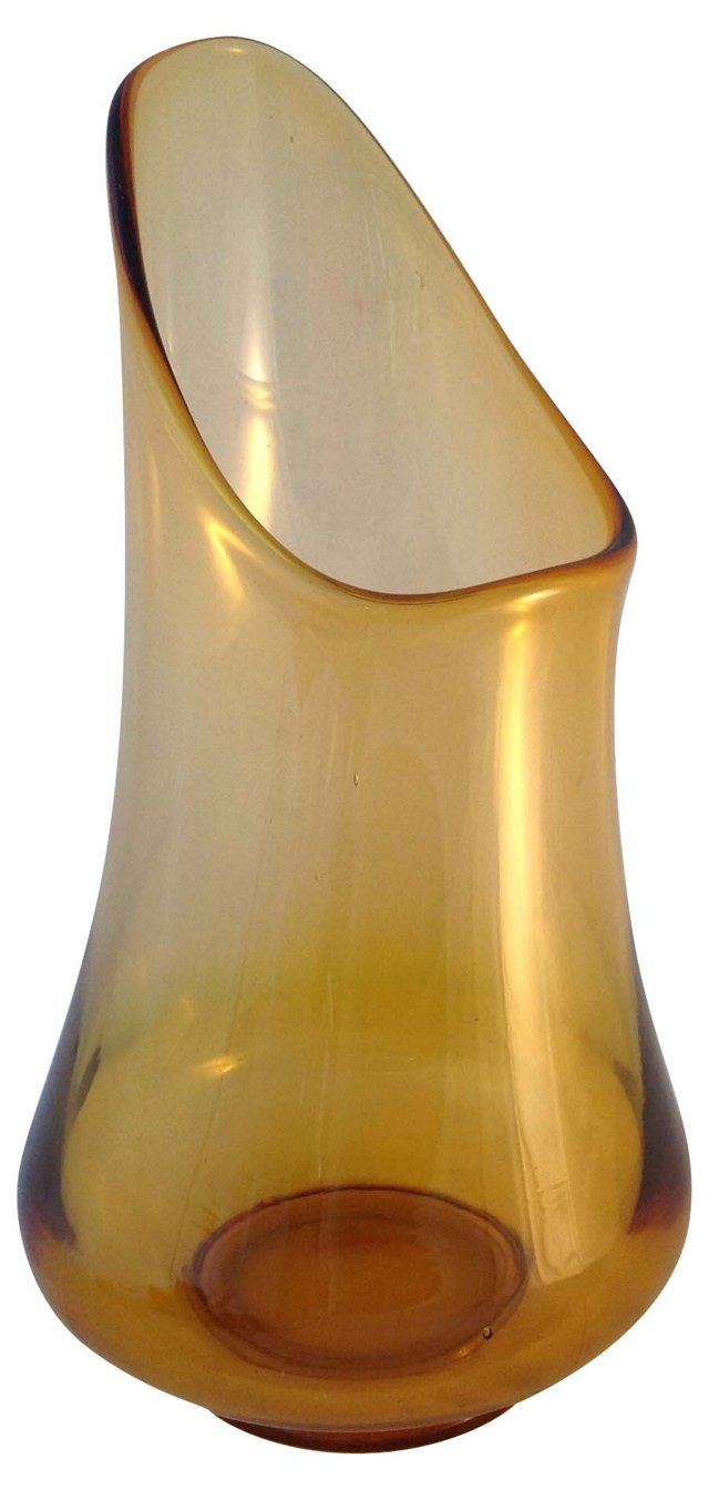 Wide-Mouth Amber Glass Vase
