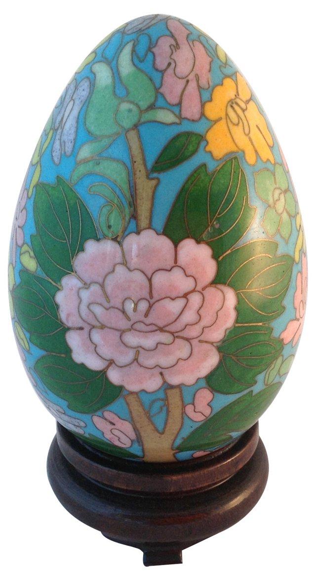 Cloisonné Egg & Wood Base