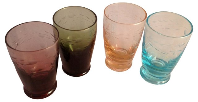 Etched & Colored Glass Shots, S/4