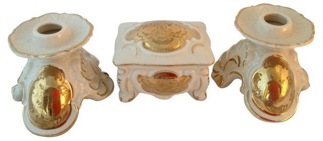 Bavarian Porcelain Box & Candleholders