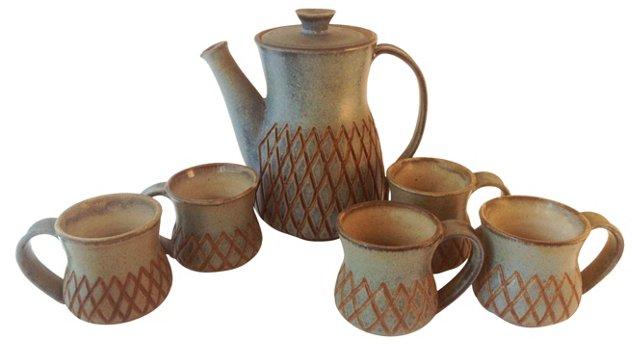 Pottery Coffee Service, 6 Pcs
