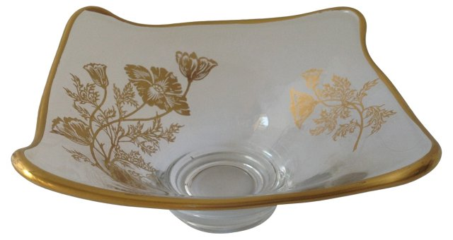 Gold Overlay Candy Dish