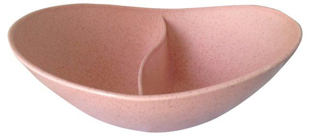 Divided Pink Ceramic Bowl