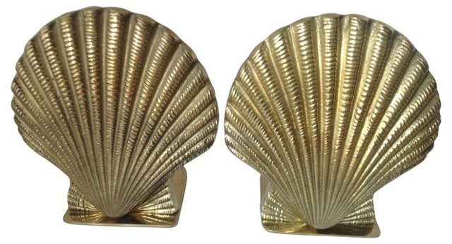 Brass Clamshell Bookends