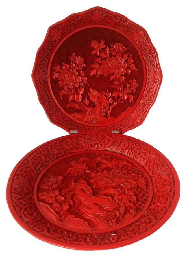 Carved Lacquer Plates, Pair