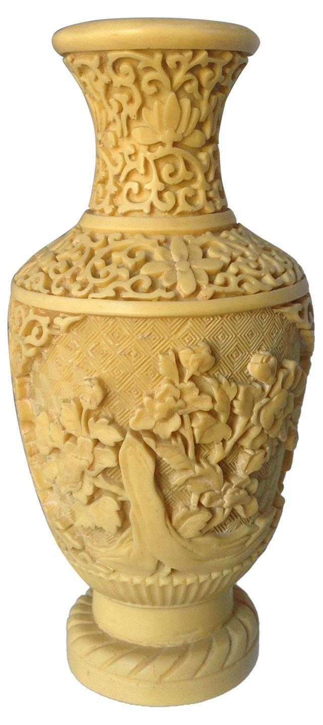 Carved Resin Chinoiserie Vase