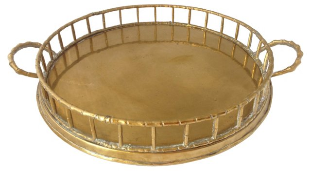 Double-Handled Round Brass Gallery Tray
