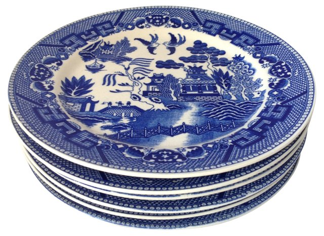Blue Willow Plates, S/6