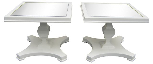 Midcentury Mirrored Tables, Pair by Lane