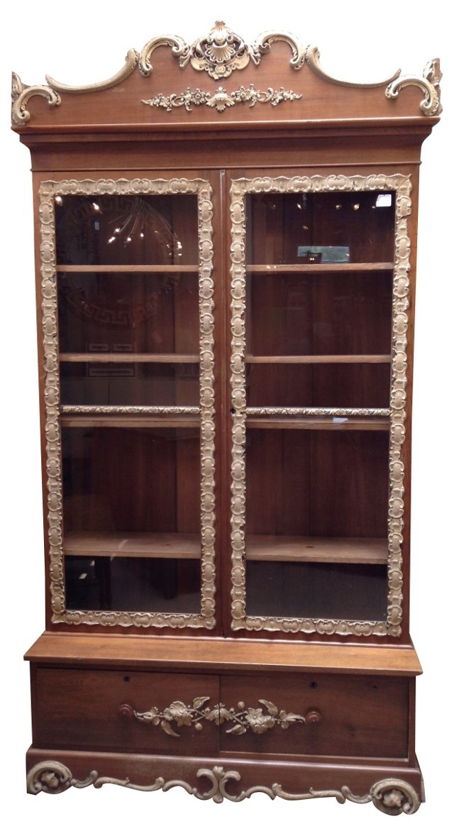 Antique French Carved  Bookcase