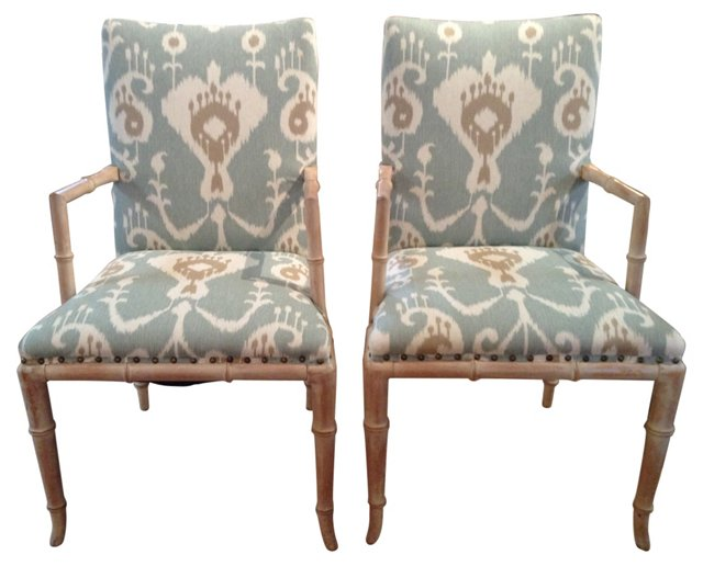 Bleached Faux-Bamboo Chairs, Pair