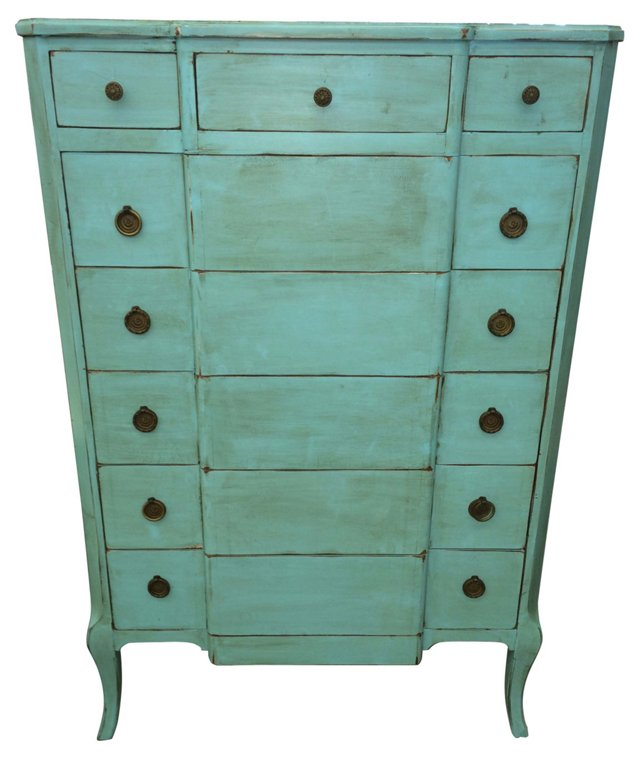 1930s Turquoise Tall Chest