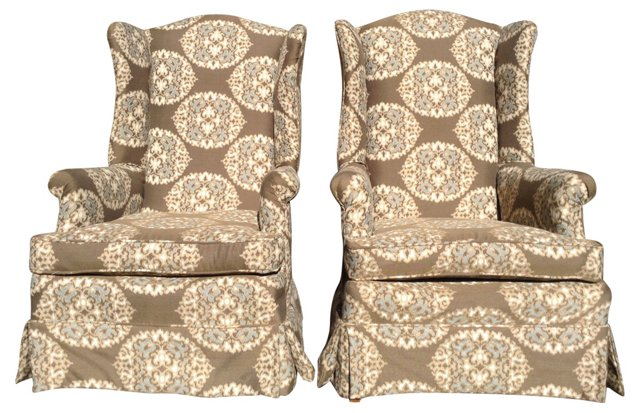 Highback Wing Chairs, Pair