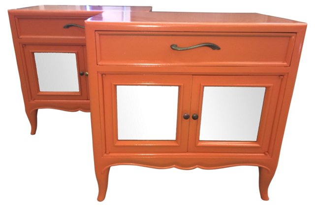 Orange French-Style End Tables, Pair