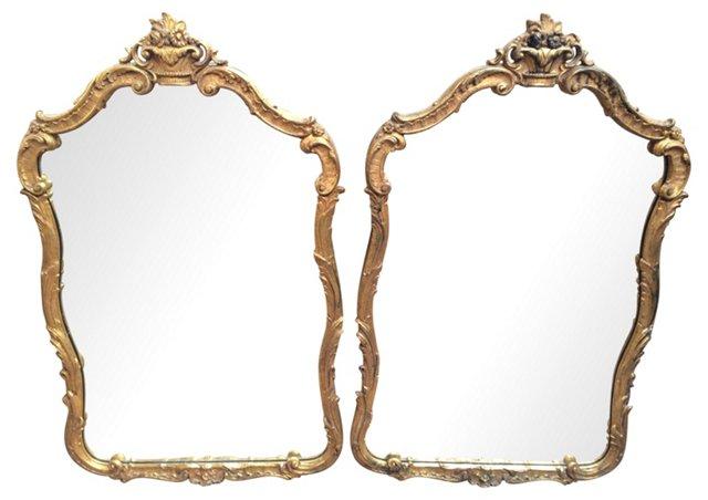 Gilded Italian Mirrors, Pair