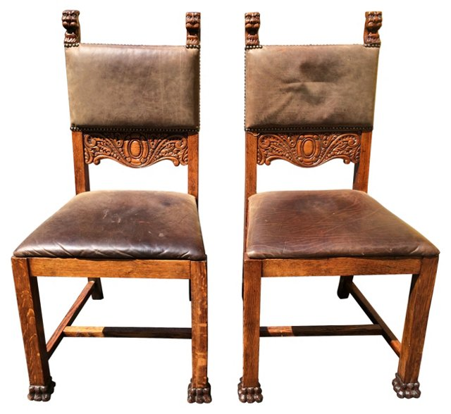 Antique English Oak Side Chairs, Pair