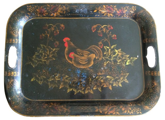 19th-C. French-Style Tole Tray