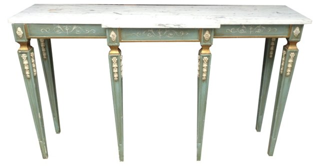 Italian Gilded & Painted Marble Console