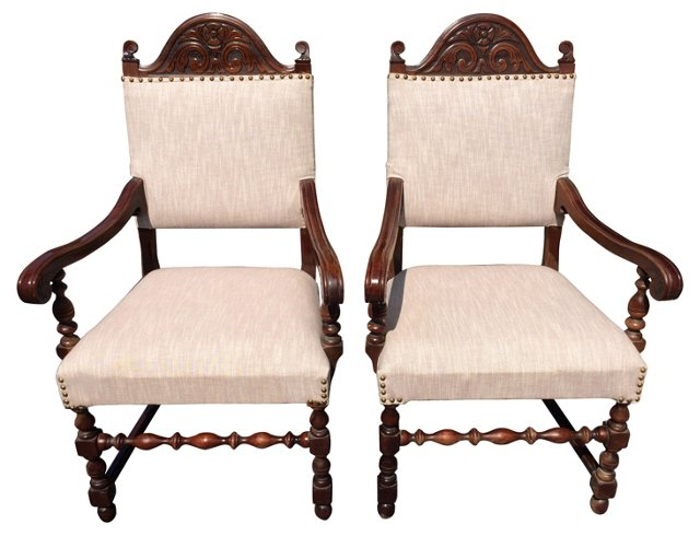 Carved Mahogany Armchairs, C. 1930, Pair