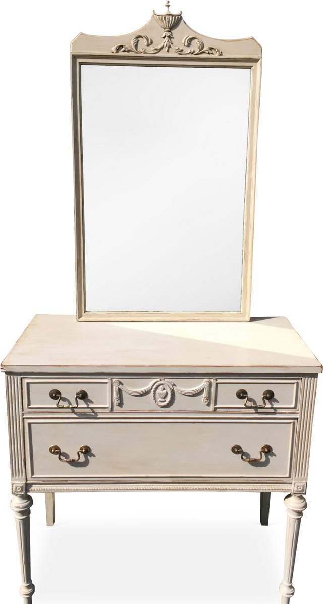 Hand-Painted Chest & Mirror